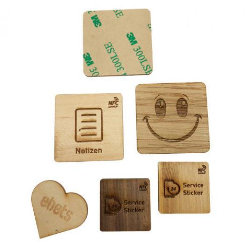 NFC-Holzsticker in verschiedenen Formen