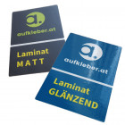 Aufkleber, Sticker, Etiketten mit Laminat glänzend oder matt
